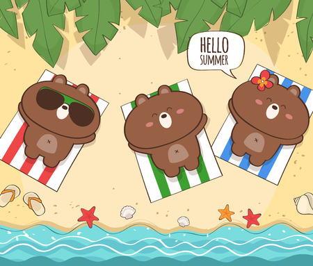 Summer holiday illustration with cute bear characters Illustration