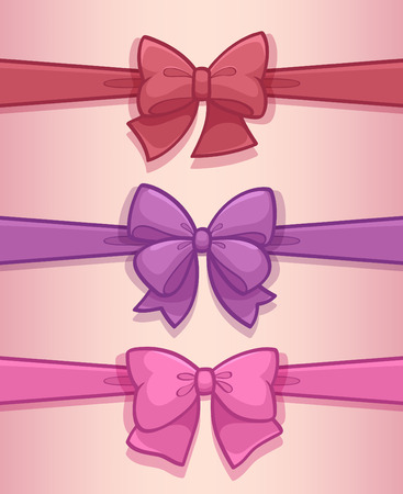 Set of colored gift bows with ribbons Illustration