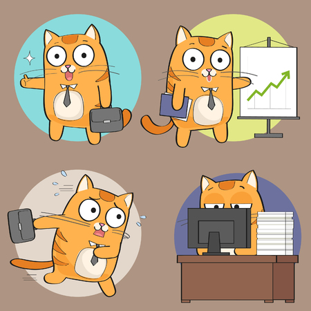 Cute cat at work Illustration