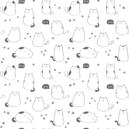 Seamless vector pattern with funny cute cats Illustration