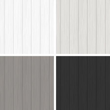 madera rústica: Conjunto de cuatro patrones sin fisuras de madera en colores blanco y negro