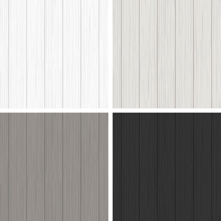 Set of four wood seamless patterns in black and white colors Illustration