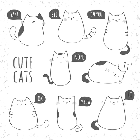 te negro: Conjunto de gatos lindos divertidos Vectores