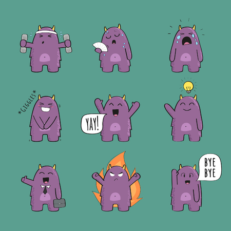 Cute monster character set