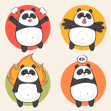 Set of cute panda bear stickers in various poses. Angry cartoon panda character