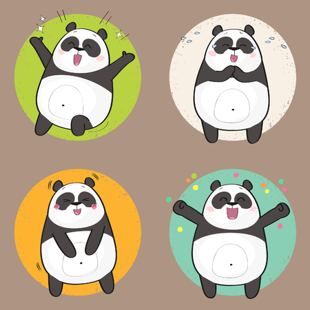 Set of cute panda bear stickers in various poses. Happy cartoon panda character Illustration