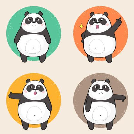 Reeks leuke panda draagt stickers in verschillende poses. Stripfiguur