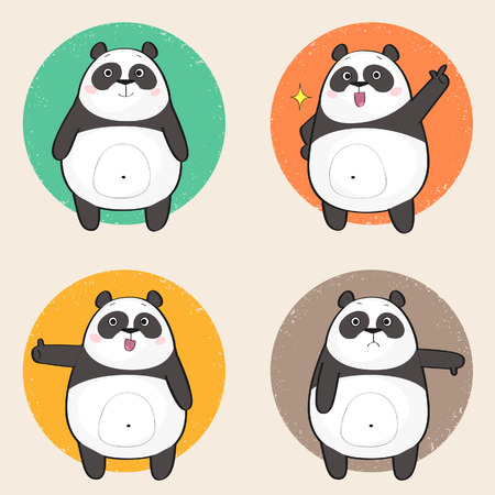 thumbs down: Set of cute panda bear stickers in various poses. Cartoon character