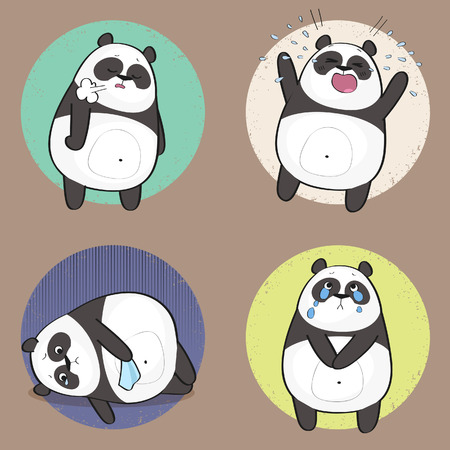Set of cute panda bear stickers in various poses. Sad cartoon panda character