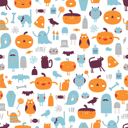 Bright Halloween background. Vector seamless pattern for Halloween Illustration