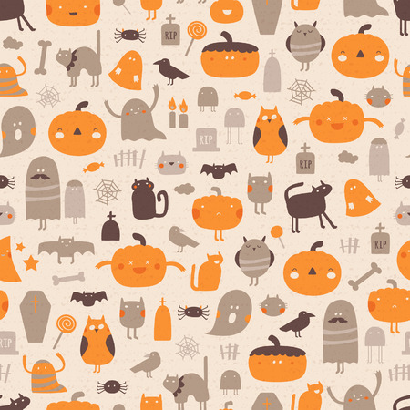 Vintage Halloween background. Vector seamless pattern for Halloween