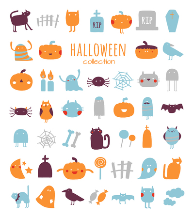 Vector set of characters and icons for Halloween. Cute Halloween collection