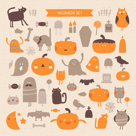 Vector set of characters and icons for Halloween