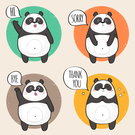 Cute Panda Character with different emotions