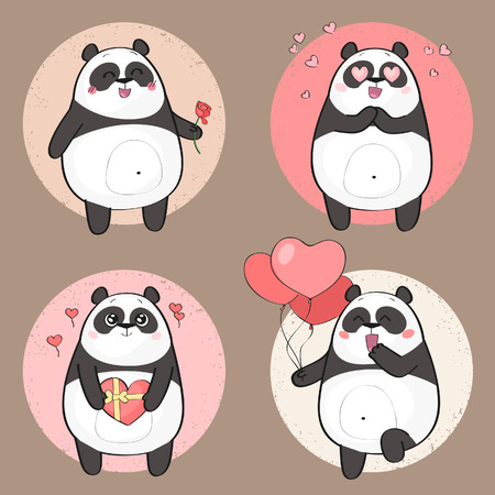 Set of cute panda bear character in various poses. Love theme