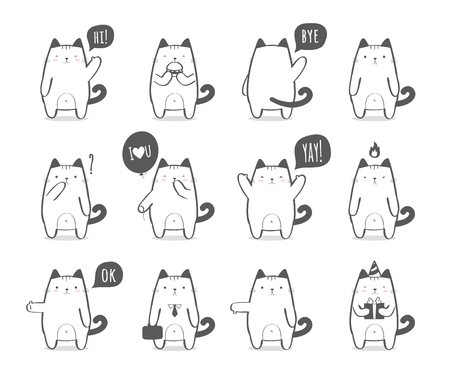 Set of cute cat character in various poses and with different emotions