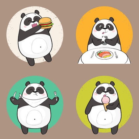 Cute panda character eating food. Set of cartoon panda bear stickers having food Illustration