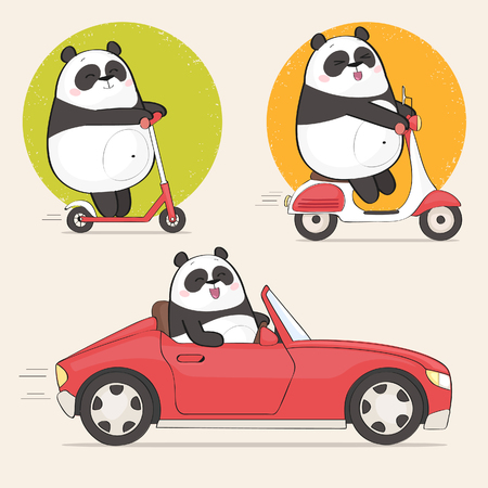 Set of a panda bear stickers using different vehicles. Cute panda character riding a scooter and driving a car Vettoriali