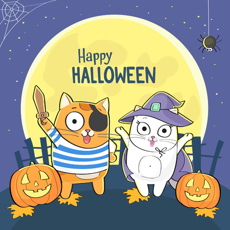 Happy halloween greeting card with cute cats in costumes and carved pumpkins
