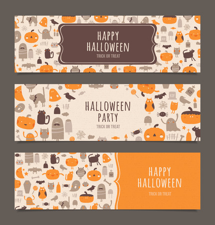 Happy Halloween banners set. Halloween horizontal vector banners. Illustration
