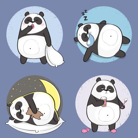Reeks leuke panda draagt stickers in verschillende poses. Cartoon panda karakter Stock Illustratie