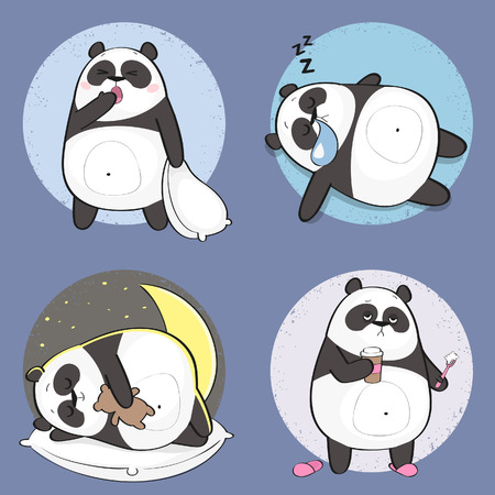 Set of cute panda bear stickers in various poses. Cartoon panda character