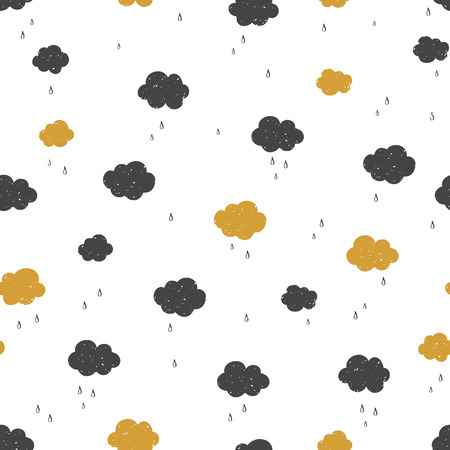 Vector Seamless pattern with raining clouds. Various black and gold clouds with rain drops on white background. Modern texture.