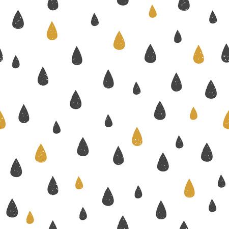 kropla deszczu: Wektor szwu z kropli wody kropek. Czarno-złota spada na białym tle. Nowoczesne abstrakcyjne tekstury