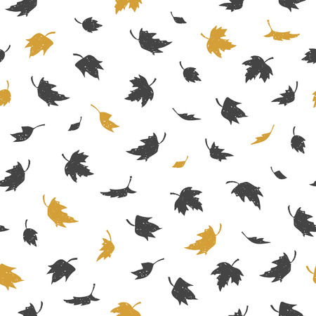 Vector Seamless pattern with maple leaves. Various black and gold leaves on white background. Modern leaf texture