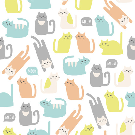 Colorful seamless pattern with cute cats. Vector background