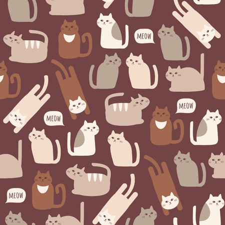 Seamless pattern with cute cats in chocolate brown color. Vector background