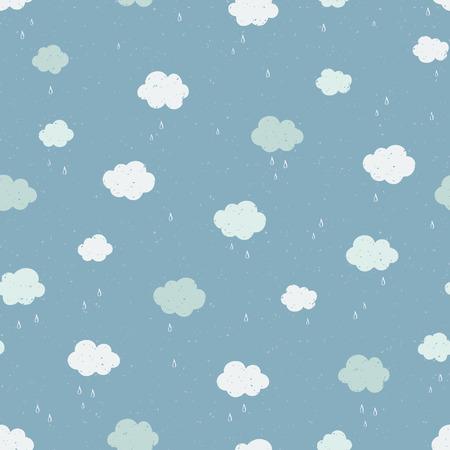 Modelo inconsútil del vector con las nubes que llueven. Textura moderna.