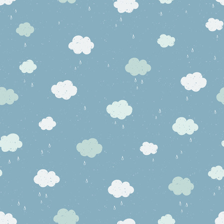 Vector Seamless pattern with raining clouds. Modern texture.