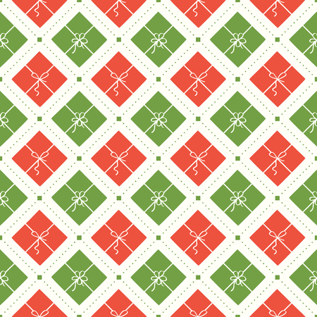 Vector seamless Christmas pattern with red and green gift boxes