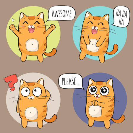 Set of cute cat stickers in various poses. Cartoon cat character.  illustration Illustration