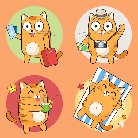 Set of cute cat character on summer vacation. Summer holiday theme. Vector illustration.