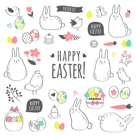 Vector Easter set with cute bunnies, chickens, flowers and eggs. Design elements and signs in cartoon style. Vector illustration. Illustration