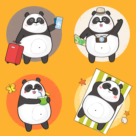 Set of cute panda bear character on summer vacation. Summer holiday theme. Vector illustration