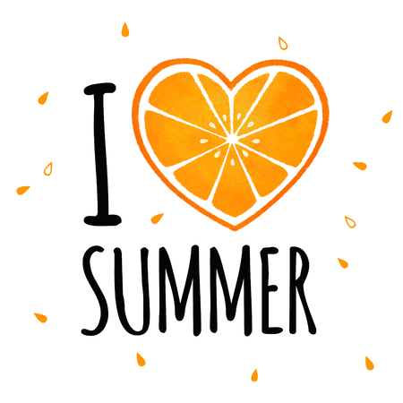 I love summer illustration with orange heart, isolated on white Stock Photo