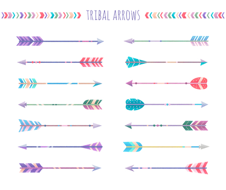 Set of arrows isolated on white background, illustration painting, tribal arrows Stock Photo