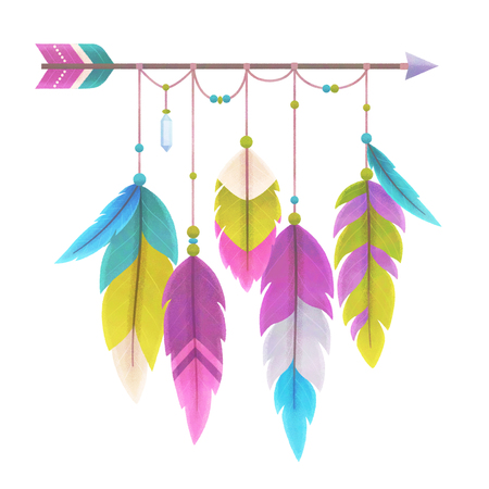 Boho style arrow with feathers, isolated on white, illustration painting Stock Photo