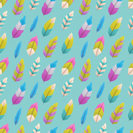 Seamless pattern with feathers, colorful background, illustration painting