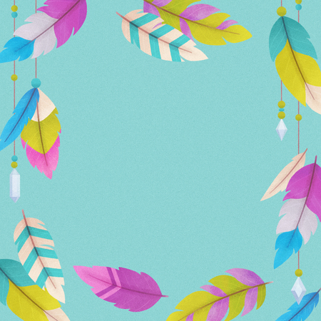Colorful background with feathers, illustration painting Stock Photo