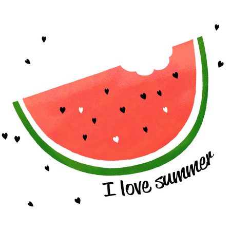 Summer concept with watermelon slice, isolated on white, i love summer, illustration painting