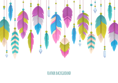Colorful feather background, isolated on white, illustration painting