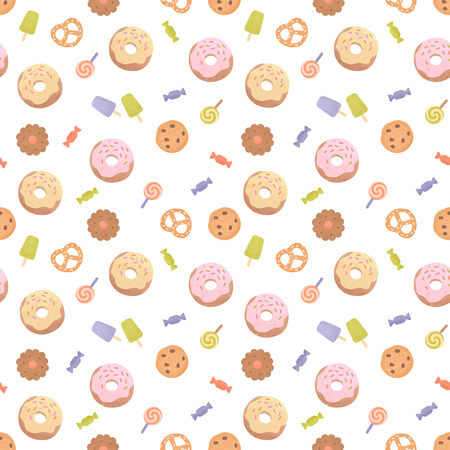 Seamless pattern with various sweets. Cute colorful background with candies, donuts & cookies. Illustration painting Stock Photo