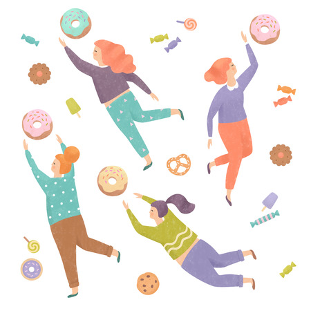 Four pretty women trying to reach out for the sweets. Treats, donuts & candy set. Isolated on white. Illustration painting