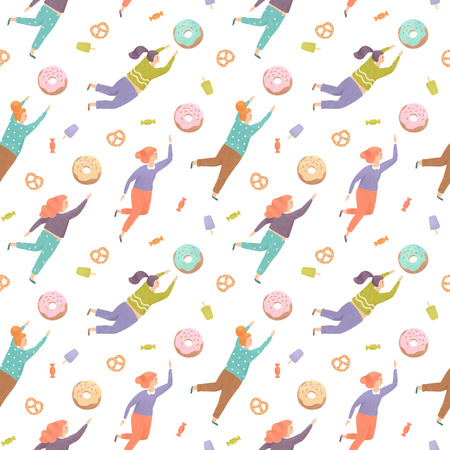 Seamless pattern with pretty women trying to reach out for the sweets, Illustration painting Stock Photo