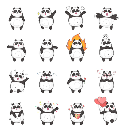 Set of cute panda character with different emotions, isolated on white background