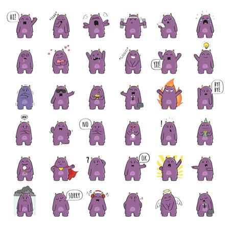 다양 한 포즈와 다양 한 감정에 귀여운 괴물 문자 집합입니다. 래스터 그림